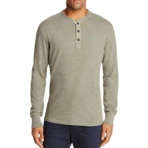 Rag & Bone Long Sleeve Cotton Green Henley Shirt